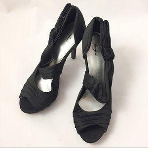CURFEW Black Satin Heels - Size 9 - New!